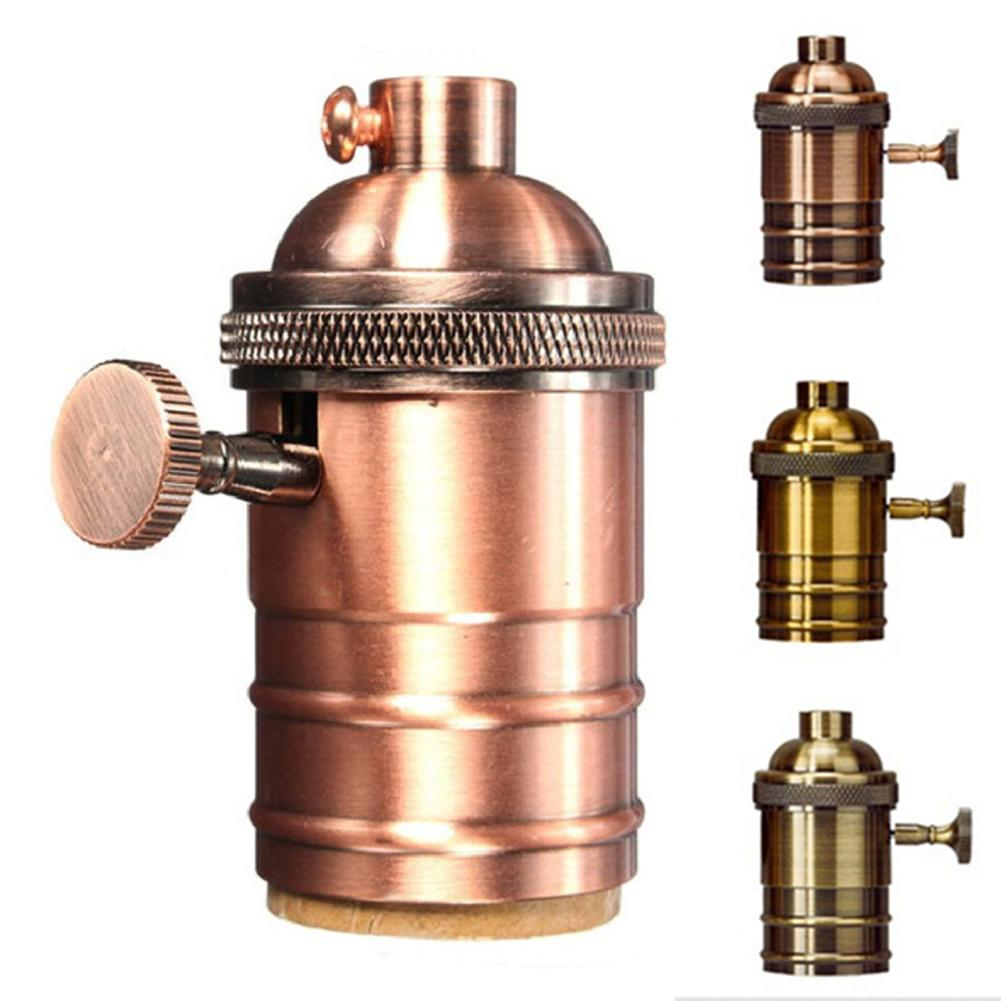 Vintage E26 E27 Hang Light Lamp Bulb Holder Switch Edison Screw Cap Socket Lamp Bases