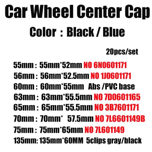 20pcs 76mm 70mm 65mm 63mm 60mm 56mm 55mm Car Rims Covers Car Wheel Center Hub Caps For Passat B6 B7 CC Golf MK5 MK6 Tiguan