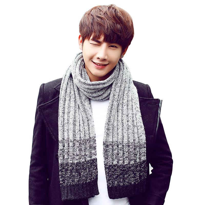 Scarf For Men Fashion Gradient Knit Thick Wool Shawl Wrap Male Winter Spell Color Tippet Korean Couple Scarf Man Striped Knit