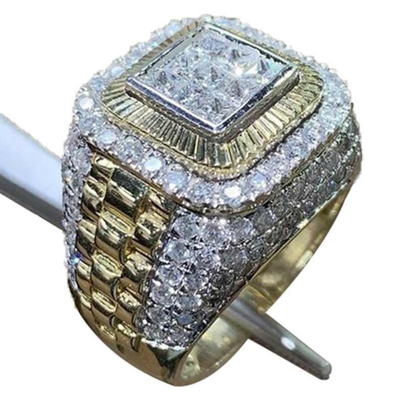 Anel de cristal quadrado micro pavimentar strass gelo anéis de ouro homens estilo hip hop jóias moda festa de natal presente