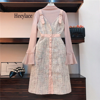 2 Piece Set Dress Women 2019 Autumn Winter Brand Lady Pink Flare Sleeve Knitted Top + Single breasted Plaid Tweed Overalls Dress