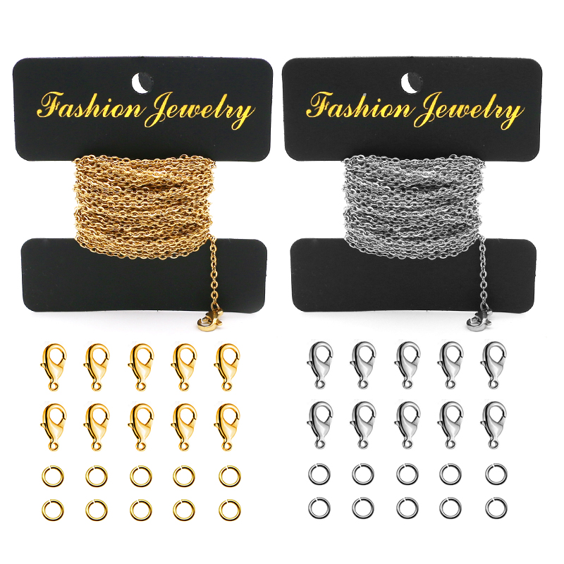 Aiovlo 5 Meters 2mm Stainless Steel Necklace Chains And Lobster Clasp For DIY Bracelet&necklace Jewelry Making Materials