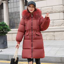 Female Jacket Parkas Women Winter Long thick down cotton padded jackets big fur hooded Solid Warm park coat plus size 3XL цены онлайн