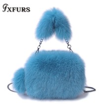 2019 Genuine Imported Whole Skin Fox Fur Bag Single Shoulder Slung Leather Trendy Ins Girl 100% Real Wrist Bags Crossboy