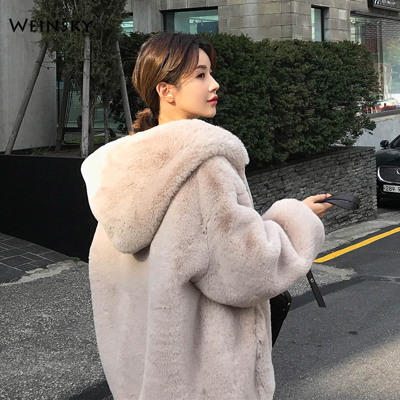 Casual Style Hooded Warm Outwear Winter Women Faux Fur Thick Teddy Bear Coat 2019 Fashion Female Overcoat