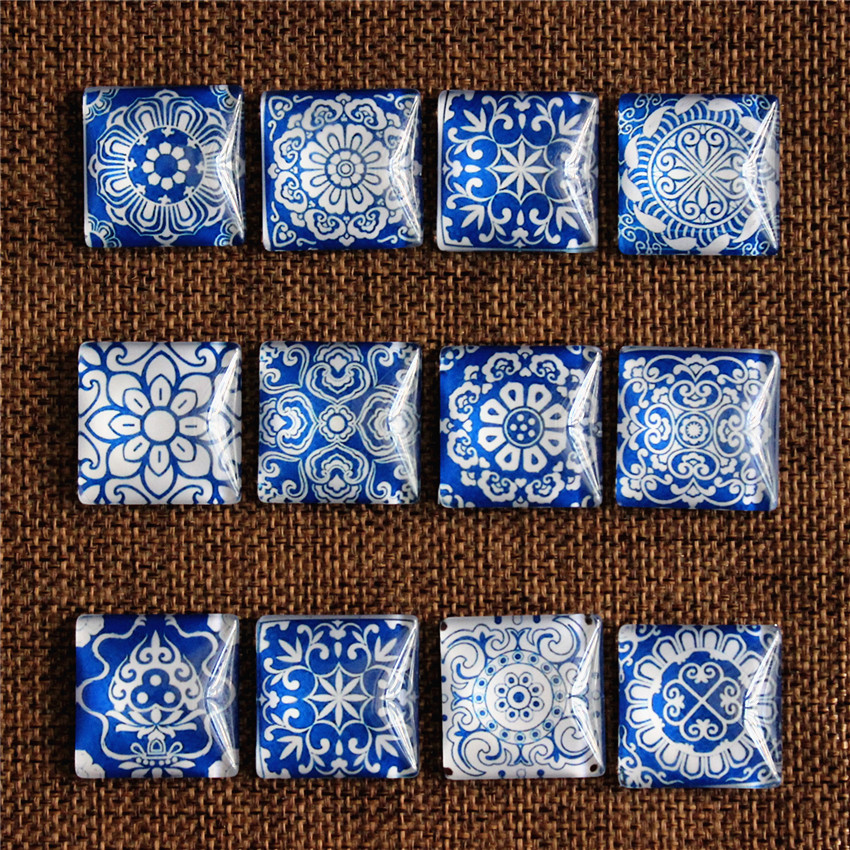 10mm 12mm 20mm 25mm Square Blue And White Porcelain Random Mixed In Pairs Pattern Glass Cabochon Flatback Photo DIY Making