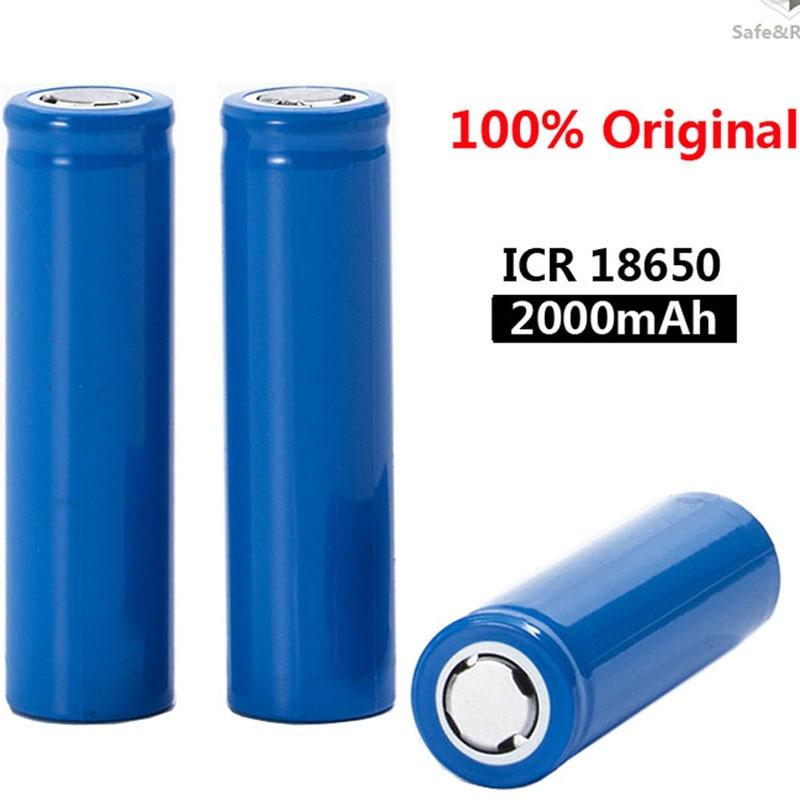 Новинка 2020, оригинальные литий-ионные аккумуляторы 18650 3,7 В 2000 мАч, ICR18650 18650