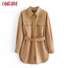 Tangada Women khaki faux leather jacket coat turn down collar Ladies Long Sleeve loose coat with slash QN70