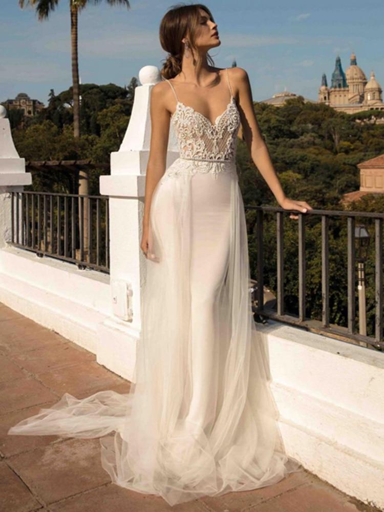 2020 Beach Wedding Dresses Spaghetti Strap Mermaid Bride Dress Backless Princess Long Wedding Gown Boho Bride Dress