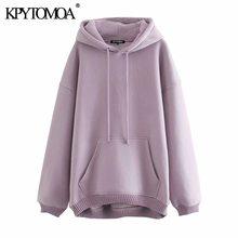 KPYTOMOA Women 2020 Fashion With Pockets Oversized Hoodies Sweatshirts Vintage Long Sleeve Fleece Female Pullovers Chic Tops