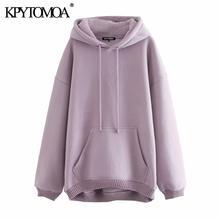 KPYTOMOA – sweat-shirt Vintage à manches longues pour femmes, sweat-shirt surdimensionné avec poches, à la mode, polaire, hauts chics, 2020