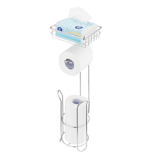 Stainless Steel Toilet Paper Roll Stand Holder Bathroom Paper Holder with Storage Shelf for Cell, Mobile Phone Freestanding