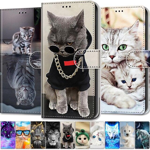 Coque animaux Cool pour Xiaomi Mi 10T Pro, étui en cuir à rabat pour Xiaomi Mi10T 10Pro 10 Lite 5G, étui portefeuille Lion ours loup chats chiens