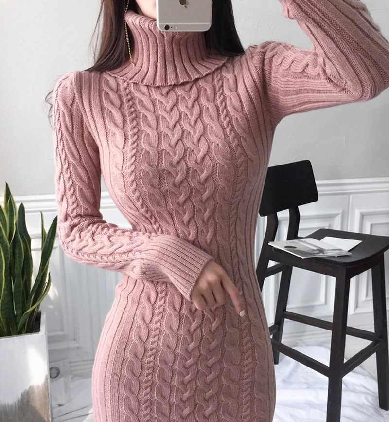 Phụ Nữ Thu Đông Full Tay Dệt Kim Dài Váy Đầm Nữ Ôm Body Đầm Thanh Lịch Xoắn Ấm Áo Len ĐầM