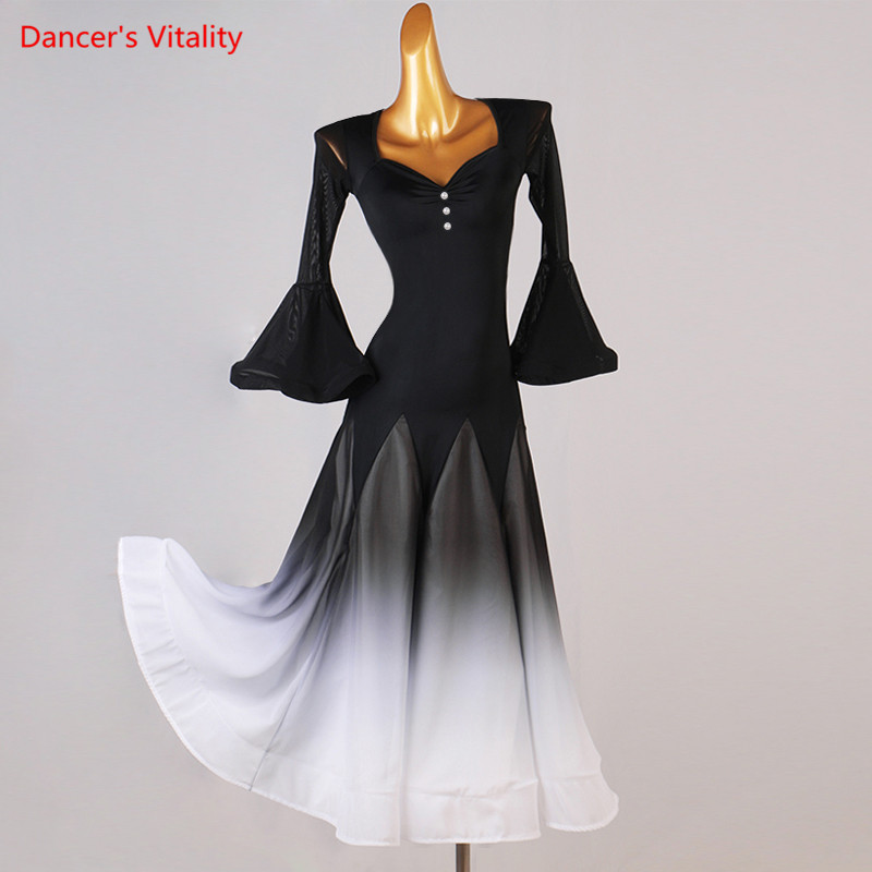 Ballroom dance dress Women V-Neck Long Skirt Mesh Flared Sleeves Performance Clothes Profession Custom Adult wholesale clothing