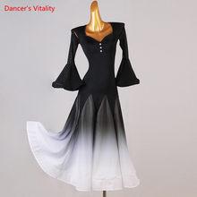 Ballroom dance dress Women V-Neck Long Skirt Mesh Flared Sleeves Performance Clothes Profession Custom Adult wholesale clothing