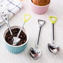 New Stainless Steel Shovel Shape Tea Coffee Sugar Spoon Ice Cream Dessert Spoon