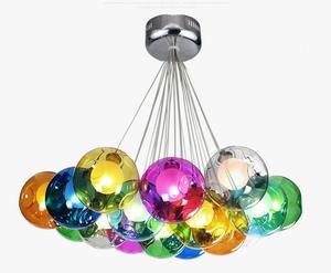 Красочные Висячие стеклянные люстры светильник G4 Led подвеска лампы гостиной падение светильник s современный стеклянный шар светильник