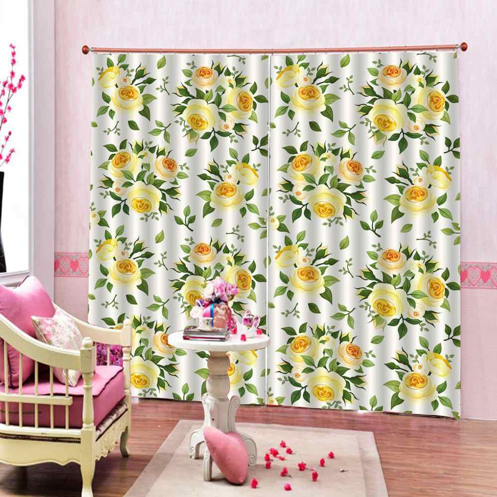 Custom Floral Curtains Watercolor Bright Summer Pattern Yellow