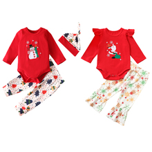 Pants-Set Bodysuit Christmas-Outfits Girl Infant Baby Boy And Twin with Hat Snowman Tree