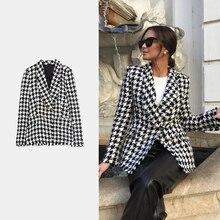 ZA Women Tweed Houndstooth Blazer Jackets 2020 Fashion Small Suit
