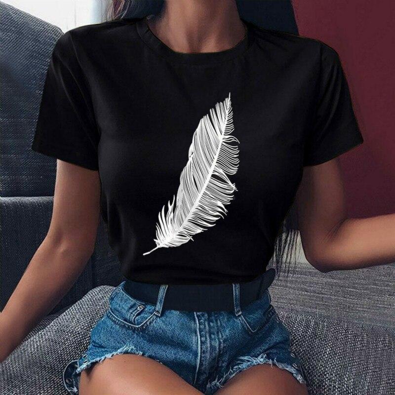 Женская футболка с принтом перьев, Повседневная Свободная эластичная футболка с круглым вырезом и коротким рукавом, в стиле Харадзюку, лето...