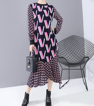 цена на Europe and the United States women's spring 2020 new long sleeve skirt V printed with even render