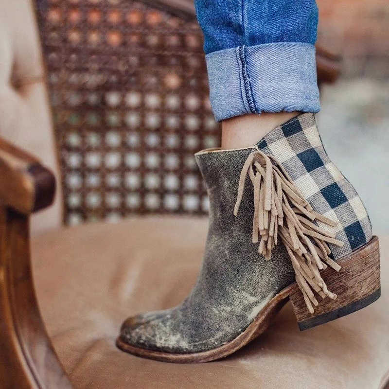 2019 Retro Suede Boots Women Ankle Boots Tassel Side Checked Back Zipper Chunky Heel Ladies Shoes Round Toe Low Heel Female Boot