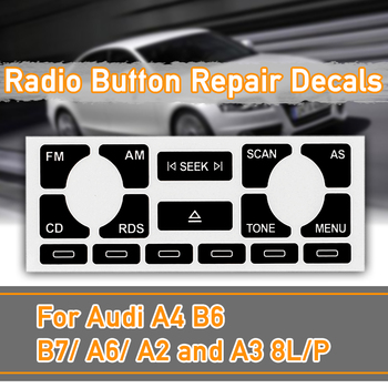 As/TP Car Audio Multimedia Radio Stereo Worn Peeling CD Player Button Repair Decals Stickers For Audi A4 B6 B7 A6 A2 A3 8L/P image
