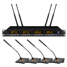 Metal 4-channel Uhf Wireless Microphone System With 4 Conference Microphones For Conference Room Presentations high end uhf 8x50 channel goose neck desk wireless conference microphones system for meeting room