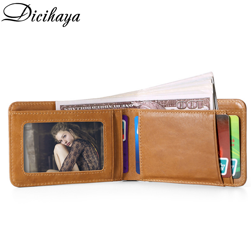 Dicihaya 2020 NEW Casual Small Wallet For Men Genuine Leather Male Slim Wallets Short Mini Wallet With Card Holder Pocket Purses