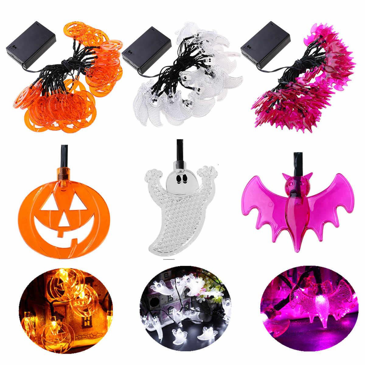 3,5 м 30 светодиодный Хэллоуин тыква летучая мышь призрак гирлянды Хэллоуин декоративные светодиодные лампочки для внутреннего/для улицы, домашний декор вечерние принадлежности