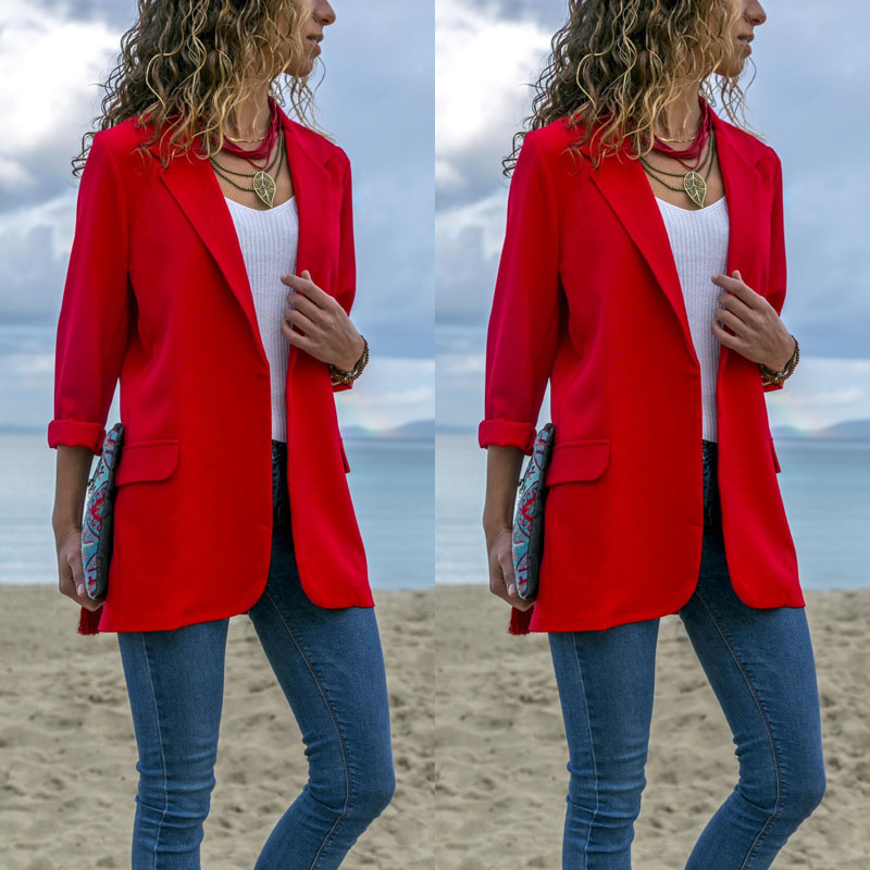 Vintage Women Chic Blazer Office Ladies Blazer Long Sleeve Loose Casual Outerwear Tops Coat Jacket Women Blazers Female 2019
