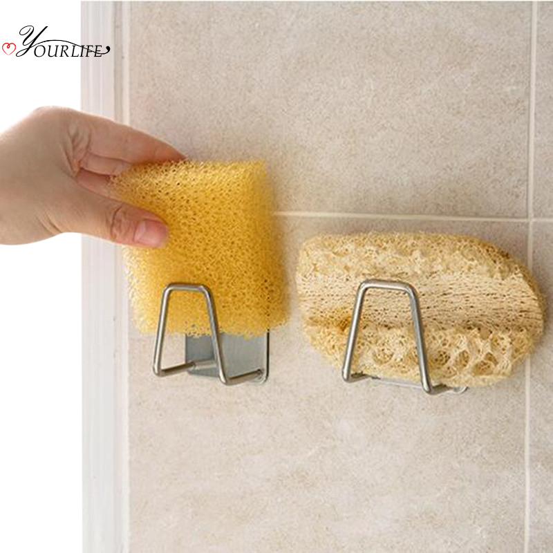 OYOURLIFE Kitchen Stainless Steel Sponges Holder Self Adhesive Sink Sponges Drain Drying Rack Kitchen Sink Accessories Organizer