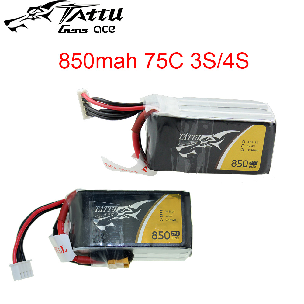 Tattu LiPo Rechargeable Battery <font><b>850mAh</b></font> 75C <font><b>3S</b></font> 4S 1P for RC FPV Racing Quadcopter Drone image