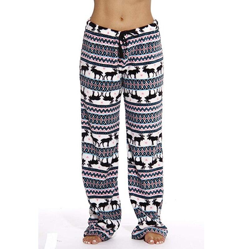 Mens Women Christmas Sleep Bottoms Lounge Pajama Pants Soft Animal Printed Plush Winter Warm Soft Comfort Sleep Trousers New