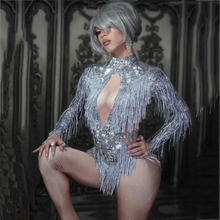 Bodysuit Outfit Dance-Costume Stage-Wear Fringes Crystals Tassel Rhinestone Sparkly Party
