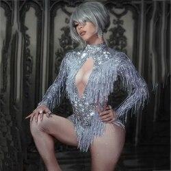 Sparkly Strass Fransen Overall Tanz Kostüm Big Kristalle Body Quaste Body Party Bühne Tragen Dance Zeigen Sexy Outfit