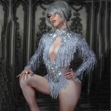 Sparkly strass franjas macacão dança traje grande cristais bodysuit borla bodysuit festa de palco wear dança mostrar roupa sexy