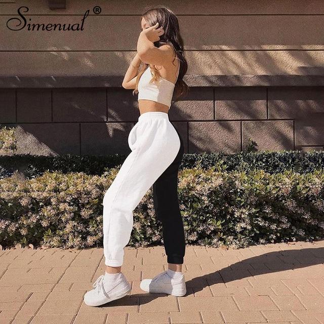 Simenual Casual Sporty Women Sweatpants Autumn Fashion 2019 Patchwork Trousers Workout High Waist Color Blocking Long Pants Slim 4