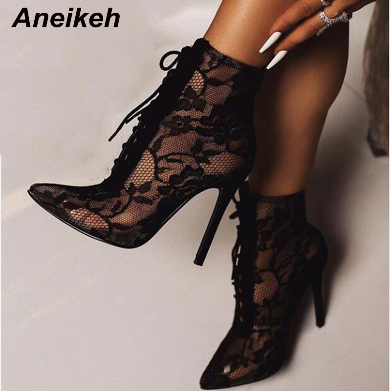 Aneikeh 2019 New Mature Mesh Women Boots Floral Lace-Up Thin High Heels Ankle Pointed Toed Party Wedding Shoes Black Size 35-40