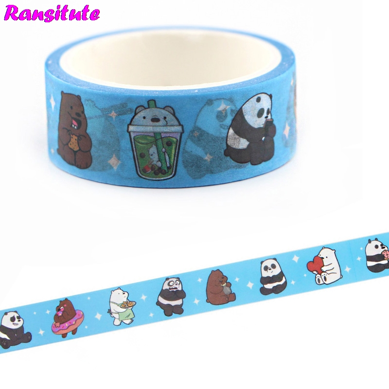 Ransitute We Bare Bears Cartoon Cute Washi Tape Sticker Traffic Tape Toy Car Decoration Office Masking Tape Gift R669