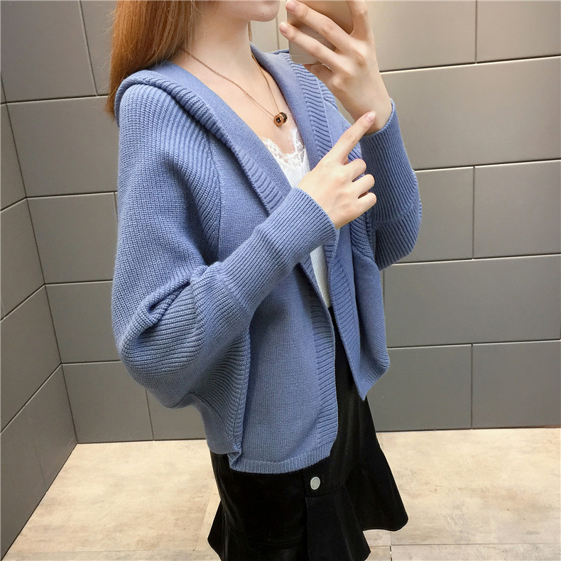 2019 Free send New style Korean loose and comfortable Autumn women Cardigan Sleeve of bat Hooded Sweater coat 150