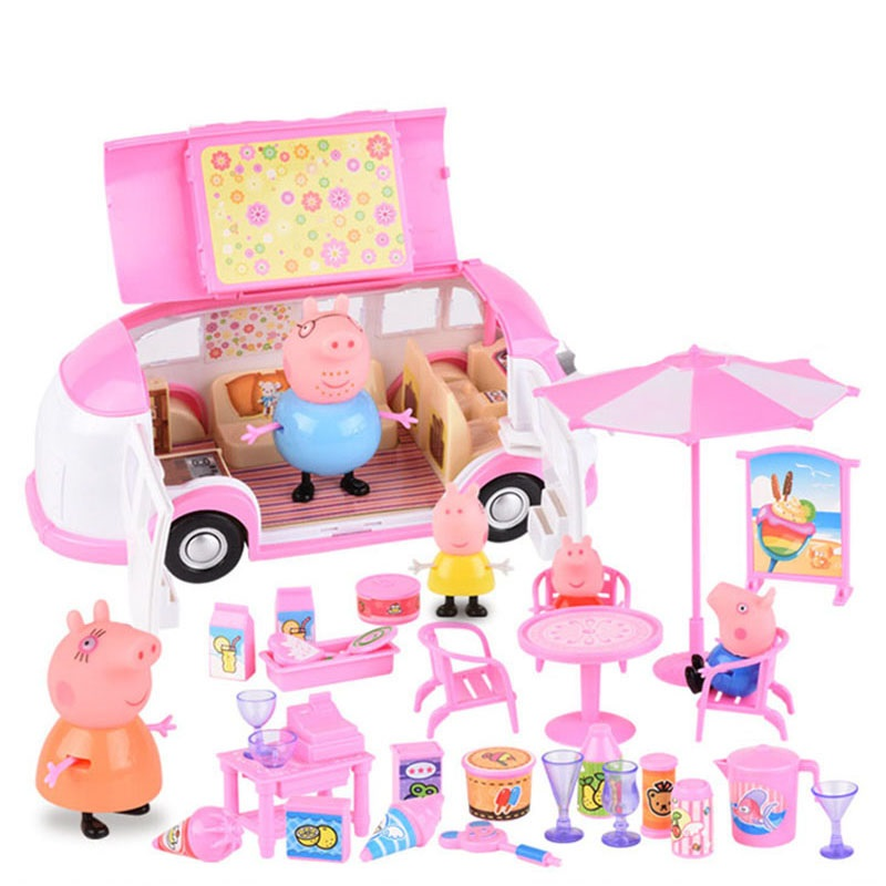 Peppa Pig George Family Toys Car Dining Car Spring Tour Anime Action Figure Anime Toys Family Party Dolls Birthday Gifts Kids