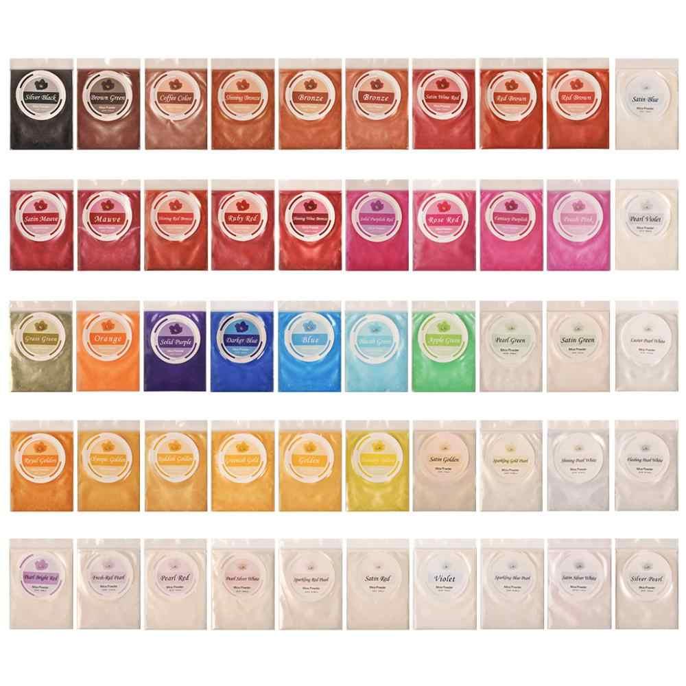 50 цветов Слюда Порошок, окрашивающий мыло краситель, эпоксидная смола краситель, натуральный пигмент для краски искусства, бомба для ванны, принадлежности для изготовления мыла