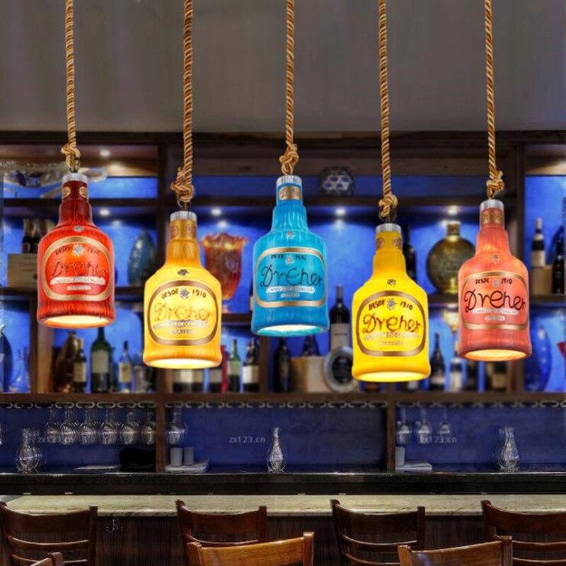 Vent industriel rétro nostalgique bouteille de vin bar café restaurant décoration pendentif lumières