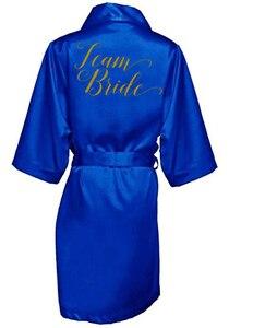 Image 4 - ROYAL BLUE Robe เจ้าสาวซาตินกิโมโน Robe ผู้หญิงงานแต่งงาน Sister of การพิมพ์เจ้าสาวเจ้าสาวเจ้าสาว robes