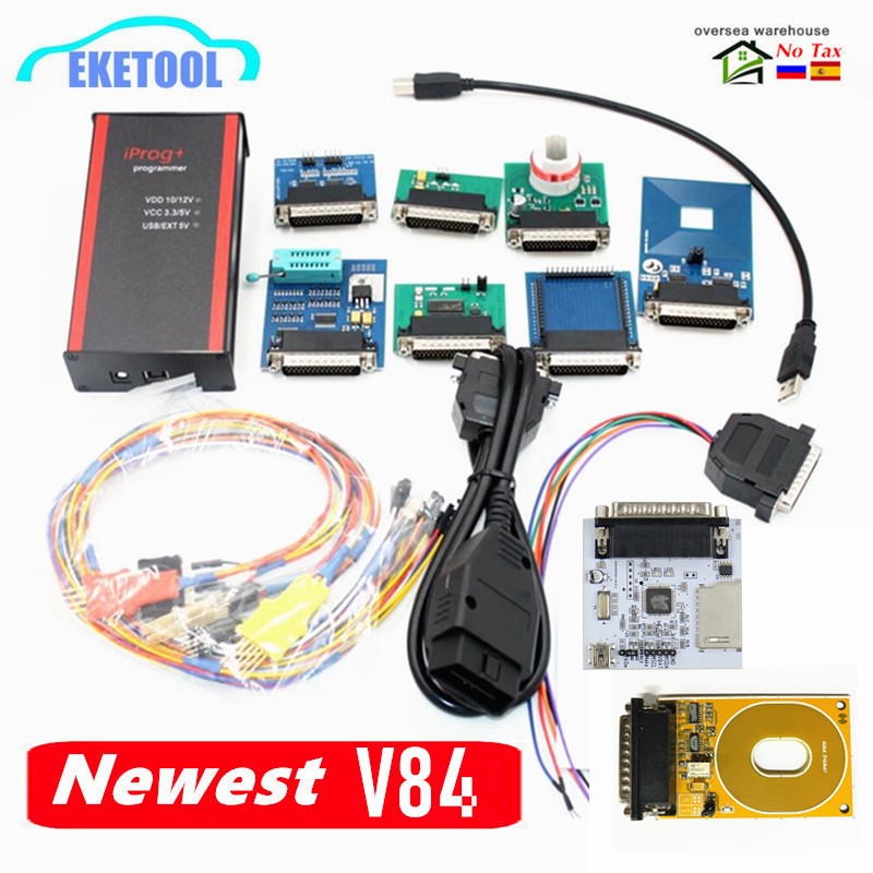 Newest V84 IProg+ Programmer 3in1 IMMO+Mileage Correction+Airbag Reset Support 2019 Year With 5Probe Adapter/PCF79xx/RFID 4C/4D