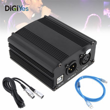 цена на USB 48V 1-Channel Phantom Power Supply with One XLR Audio Cable for Condenser Microphone Studio Music Voice Recording Equipment