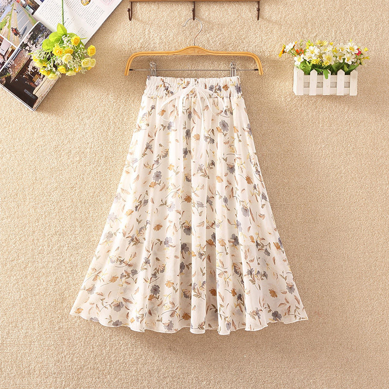 Women's Floral Skirt High Waist Long Summer 2020 Printed Chiffon Skirt Summer Woman Skirts Mujer Faldas Saias Mulher 3